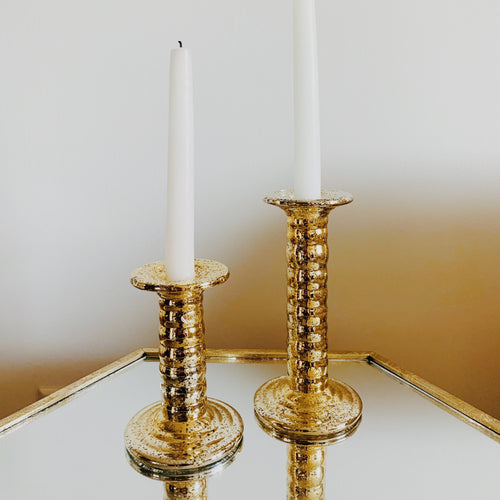 Gold Glass Candle Sticker Holder