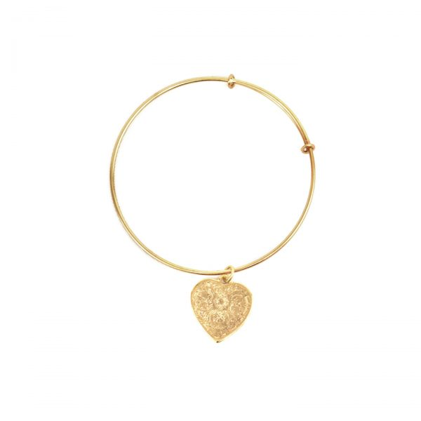 Gold Antiqued Heart Slider Bangle Bracelet