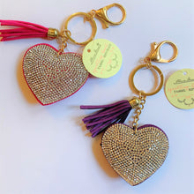 Load image into Gallery viewer, Sparkling Heart Tassel Keychain