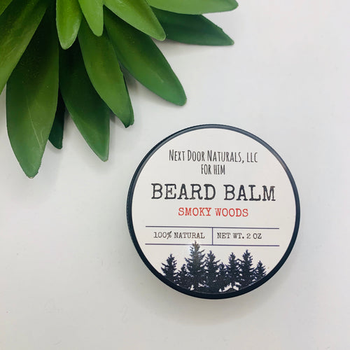 Natural Beard Balm in Smoky Woods