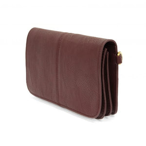 Burgundy Multi Pocket Crossbody Clutch