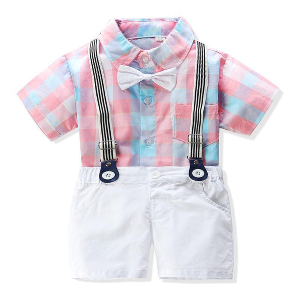 Toddler Kid Baby Boys Gentleman Outfit Plaid Bow Rompers + Overalls - honeylives