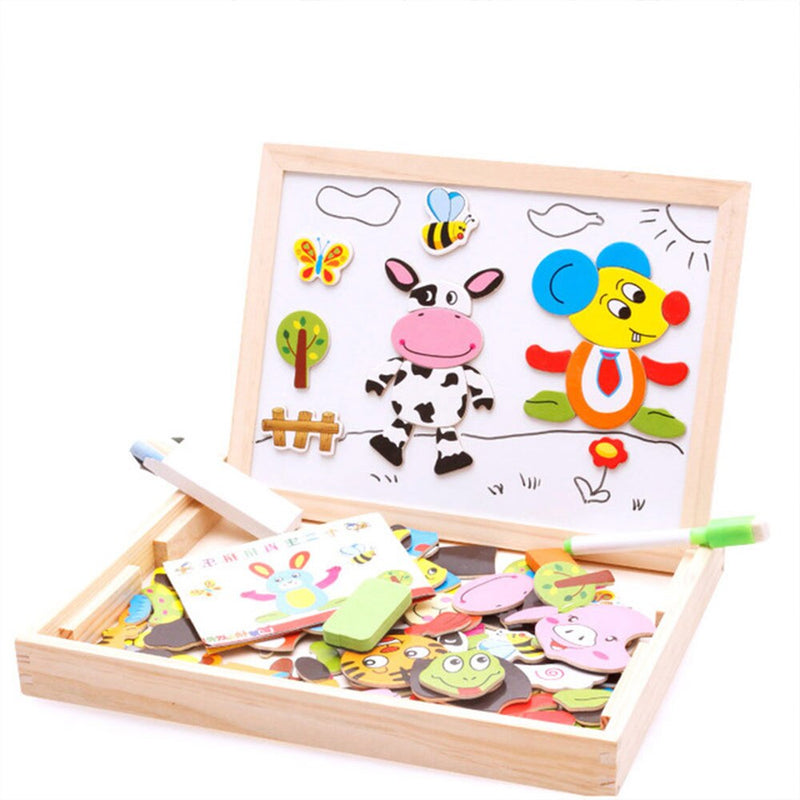 100+Pcs Wooden Magnetic Puzzle Toys 3D Puzzle Figure Circus Drawing Board - honeylives