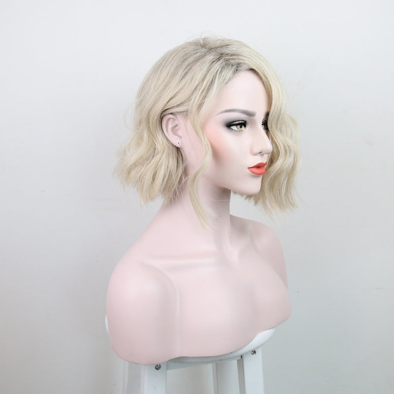 Lady Wigs Fractional Water Ripple Beige Gradient Short Curly Hair