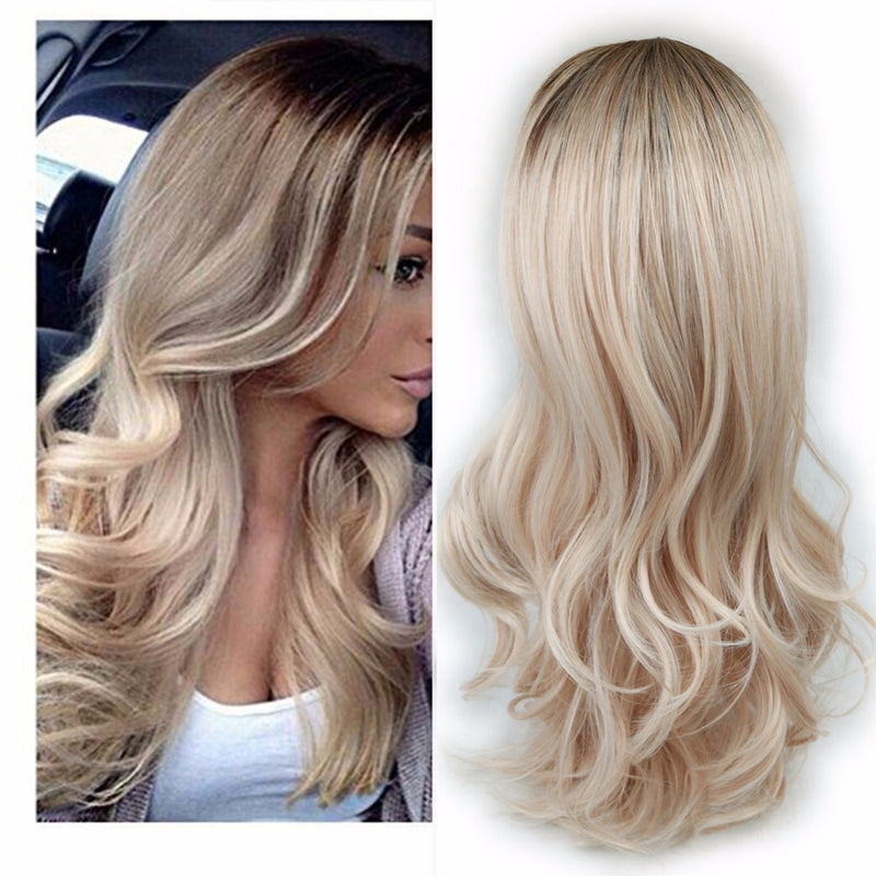 Women Blonde Ombre Hair Black Root Long Curly Wigs