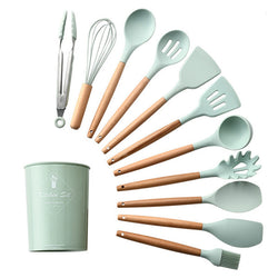 Kitchen Silicone Cooking Tools Wooden Handle Turner Kitchenware Set 12pcs - honeylives