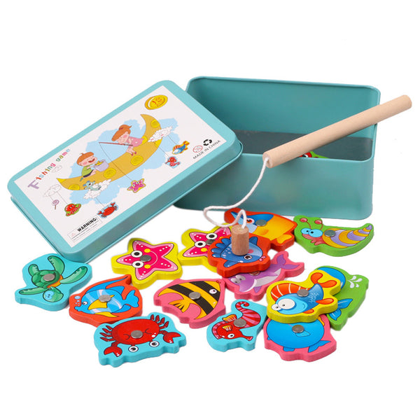 Kids Game Educational Toy Fish Wooden Magnetic Interactive Toy 15Pcs - honeylives