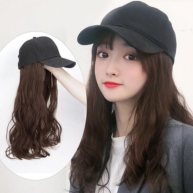 Lady One Piece Cap Wig Net Red Natural Curl Baseball Hat