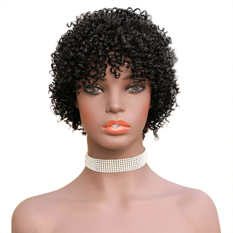 Fashion Wigs Star Fluffy Small Roll 20cm Black Short Curly Hai