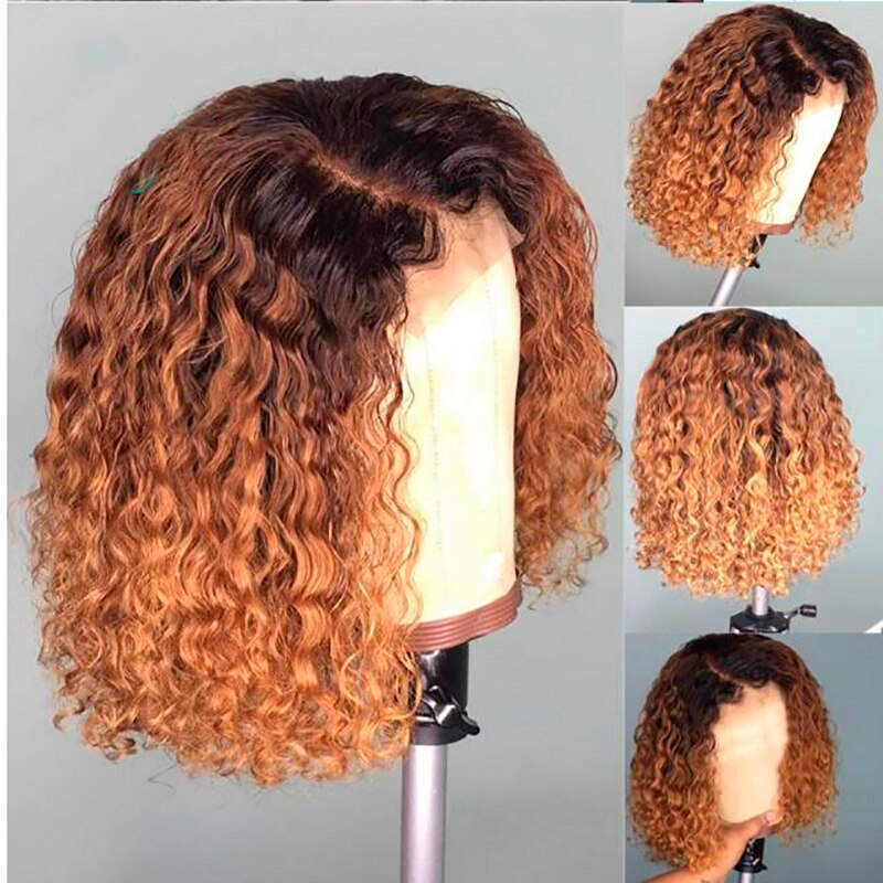 Lady Solid Color Short Curly Lace Front Human Hair Wigs