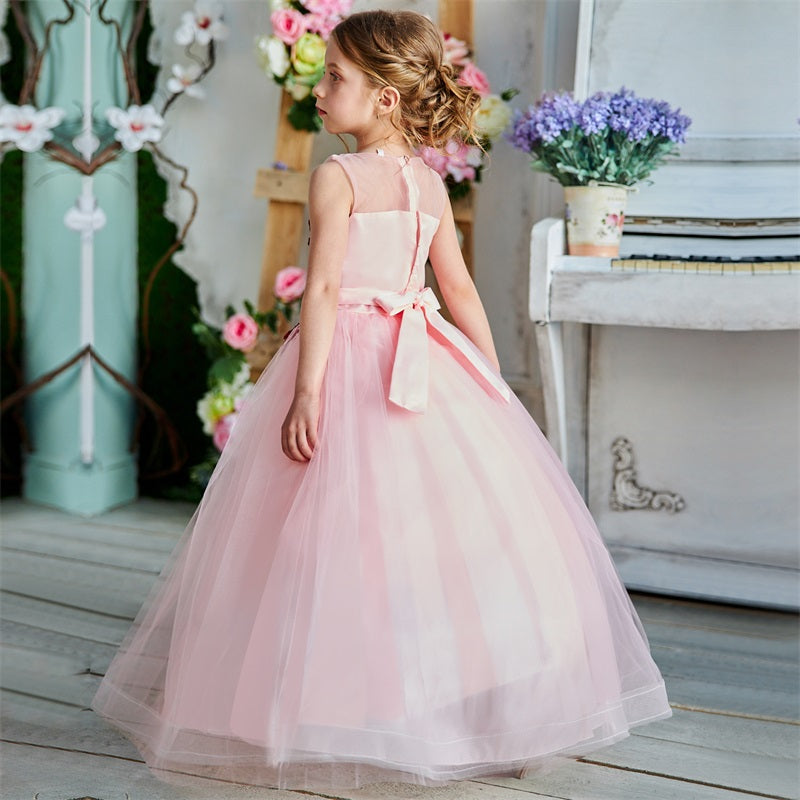 Teenager Girls Birthday Princess Dress Vintage Appliques Flower Ball Gown - honeylives