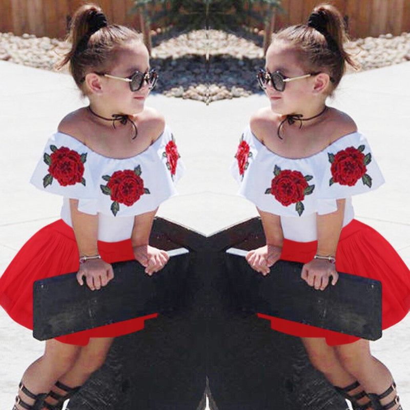 Summer Toddler Girls Off Shoulder Rose Embroidery Tops+Solid Tulle Skirts Outfits - honeylives