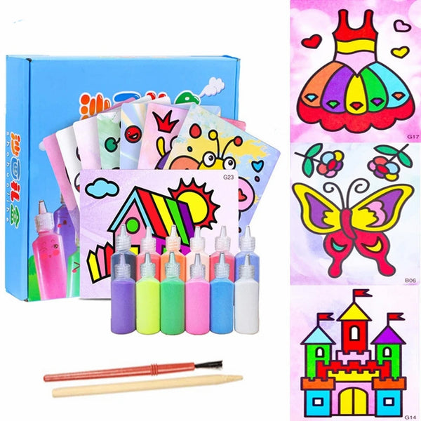 24pcs/set Kids Sand Painting Toy Set Sand Art Paper Drawing Art Craft - honeylives