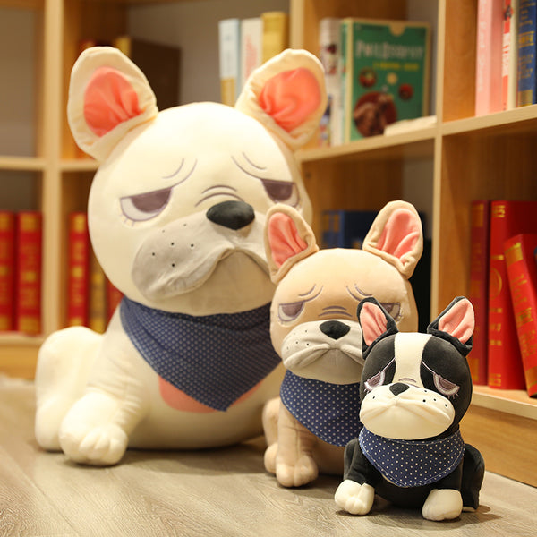 Cute Ugly Bulldog Stuffed Doll Plush Pug Scarf Upset Dog Toys for Kids - honeylives