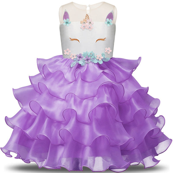 Girls Dress Elegant Unicorn Wedding Birthday Carnival Party Dresses 3-8T - honeylives