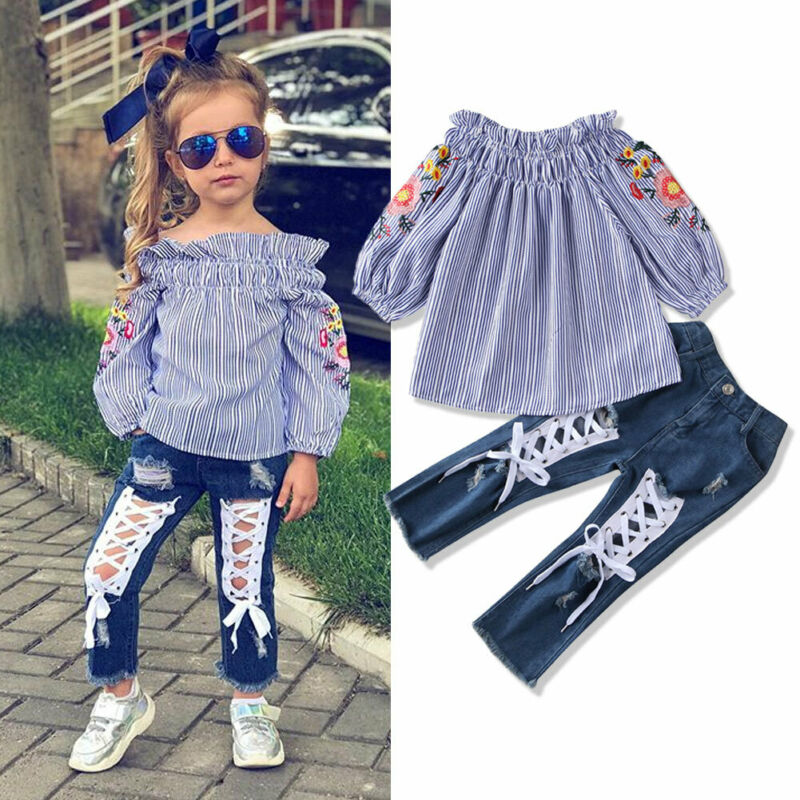 Kid Girl Flower Embroidered Off Shoulder Top + Hole Denim Pant Costumes 3-8Y - honeylives