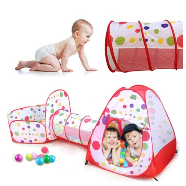 Kids Tent House Play Tent Baby Crawling Game House Ocean Ball Pool 3 In 1 - honeylives