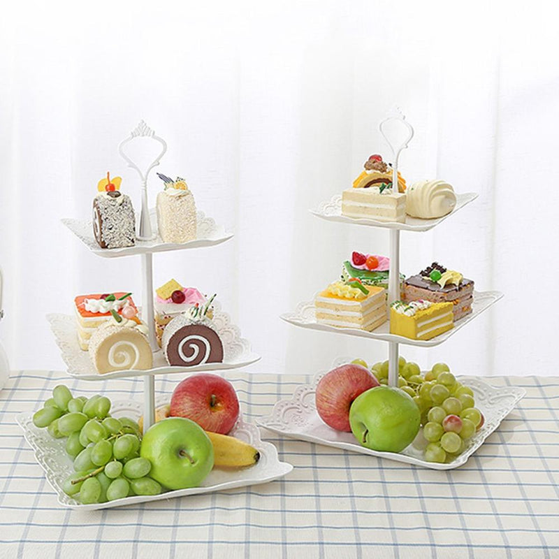 3-Tier Cupcake Stand Cake Dessert Kitchen Hollow Out Plate Round Fruit Cake Storage - honeylives