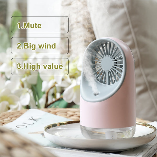 Mini Fan Summer Electric Air Cooler Humidifier USB Rechargeable Fans with Night Light Air Conditioner - honeylives