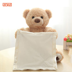 Cute Electric Music Teddy Bear Plush Toy Play Hide Seek Lovely Cartoon Stuffed Kids Birthday Gift - honeylives