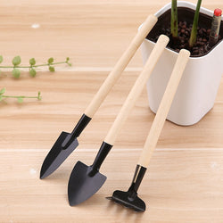 3PC Wood color Mini Small Shovel Spade Gardening Tools - honeylives