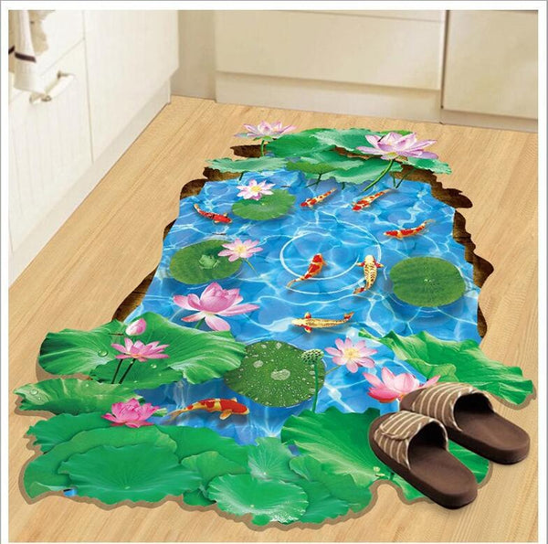 3d Big Floor Sticker Bathroom Waterproof PVC Sticker Decorations Living Room - honeylives