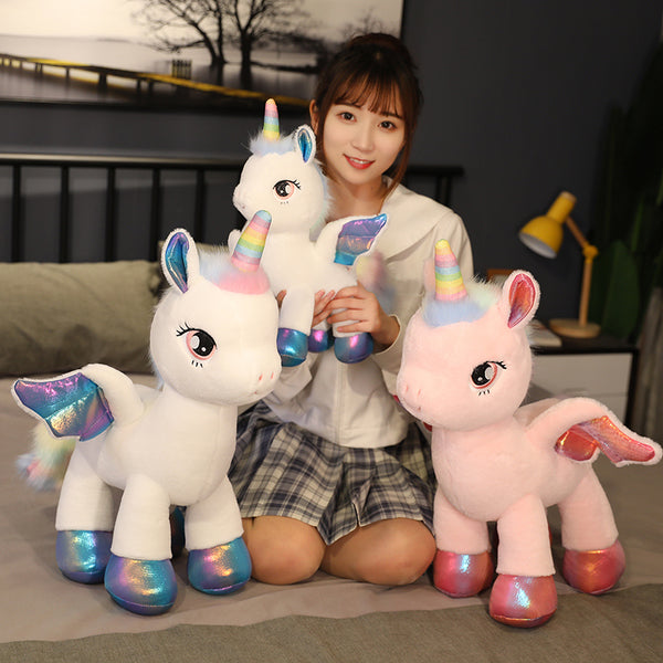 Giant Rainbow Unicorn Plush Toys Stuffed Animal Plush Toys Unicorn Flying Horse Doll - honeylives