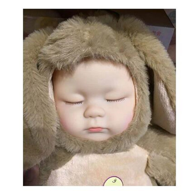 Baby Sleeping Rabbit Dolls Plush Toys Make Sounds Music Gift 42cm - honeylives
