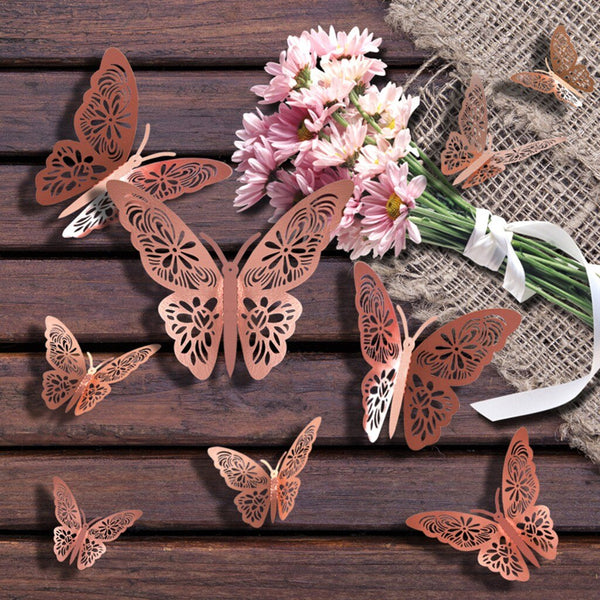 3D Butterfly Rainbow PVC Wallpaper Beauty Wall Stickers Home Decorations 48pcs - honeylives