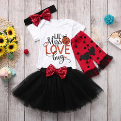 Baby Girls Clothes Sets Skirt Same Hair Band  Leg Socks Sets 4Pcs - honeylives
