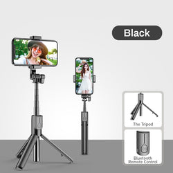 Wireless Bluetooth Selfie Stick LED Light Extendable Live Tripod for iPhone Android Smartphone 4 in 1 - honeylives