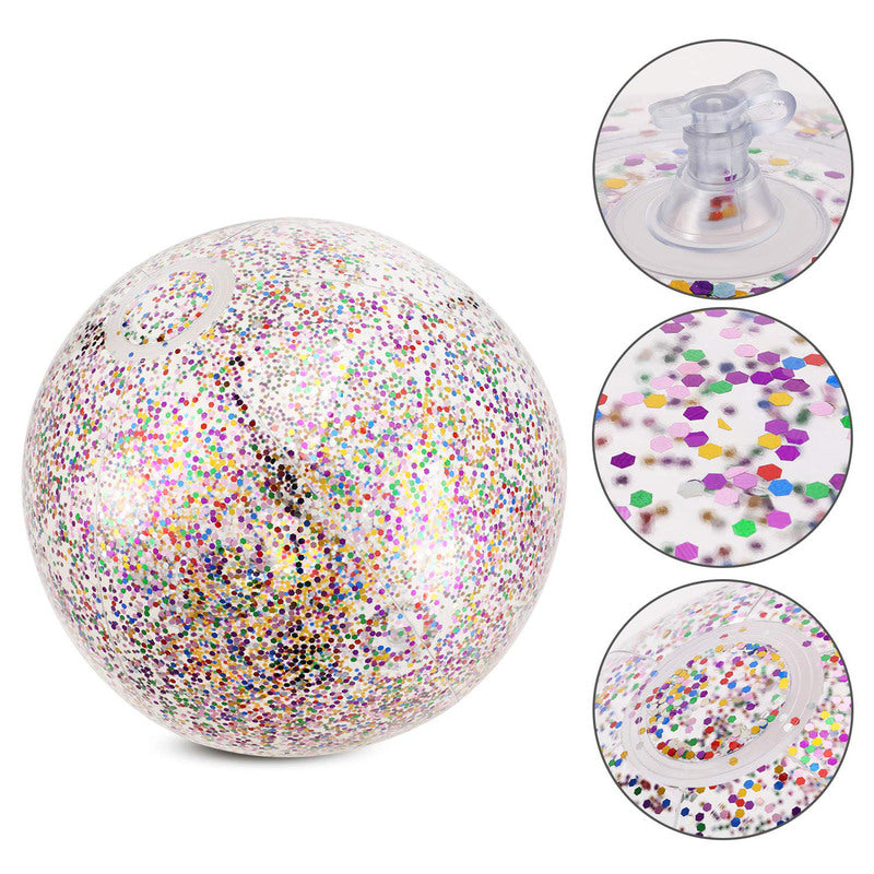 Inflatable Glitter Beach Ball  Pool Toys Balls for Kids  Outdoor Summer Water Fun Toys Volleyball Football - honeylives