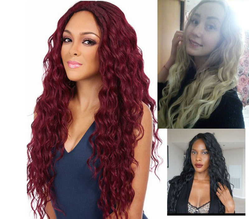 Lady Curly Hair and Wig Corn Hot Wine Red Long Roll Fluffy Wigs
