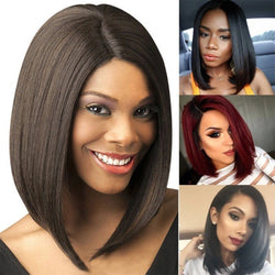 Synthetic Lace Front Wig Ombre Straight Bob Side Part Lace Front Wig Blonde Short Black