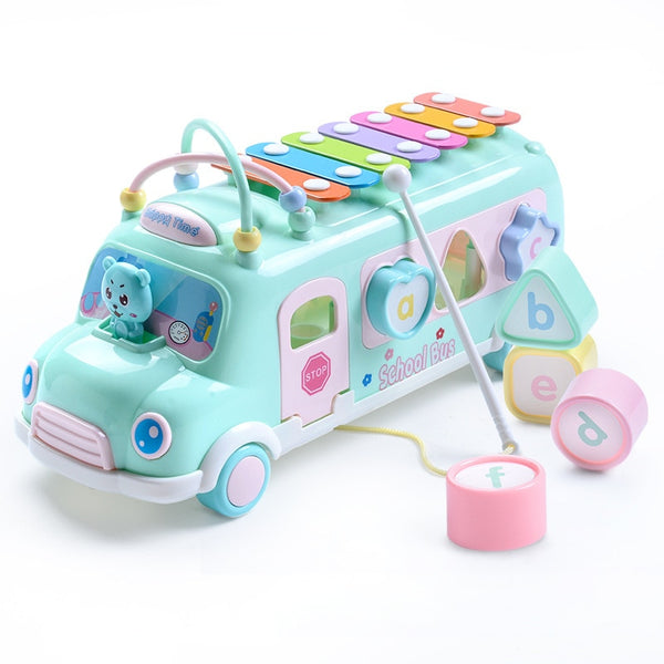 Multifunction Early Educational Car Toys Baby Learning Music 5 in 1 Bus 8PCS/Set - honeylives