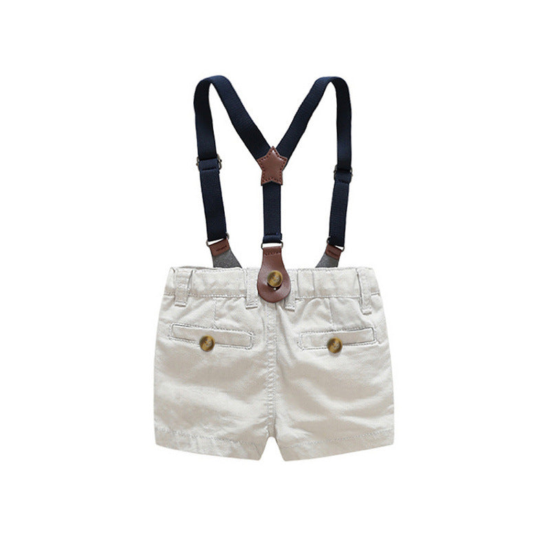 Summer Boys Birthday Gentlemen Suit Shirt Short Pants 4pcs - honeylives