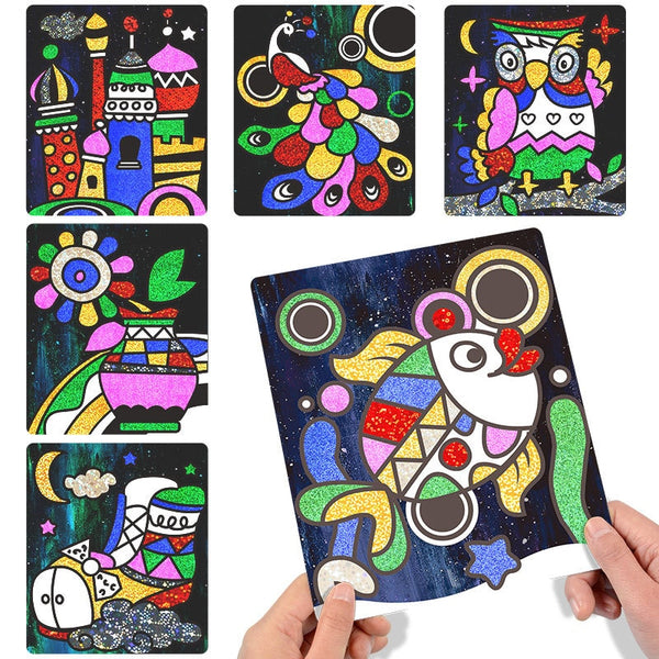 Children Shining Magic Color Paper DIY Art Craft Toy Creative Stickers Drawing Handmade Scratching Paper - honeylives