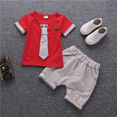 Baby Boy Tie Bow Summer New Kids Cotton Cute Sets Baby Boy Outfit Costumes - honeylives