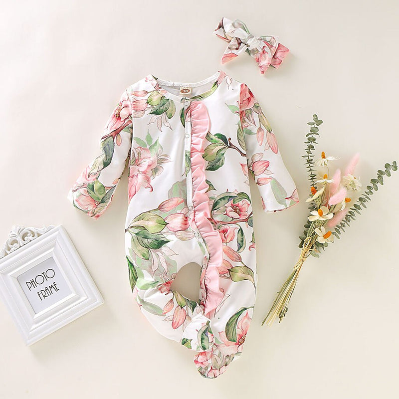 Baby Girl Romper Infant Vintage Sleeper Romper Headband Clothes Outfits - honeylives