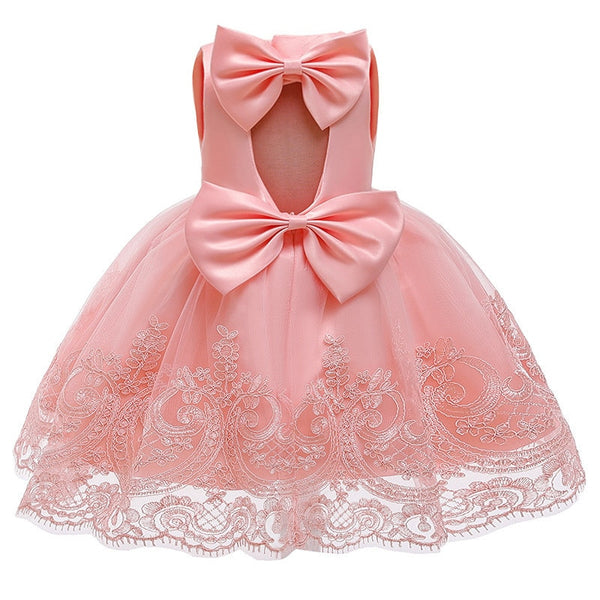 Baby Girl Princess Baptism Dress Big Bow Open Back Costume 9M-6T - honeylives