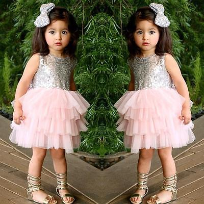 Baby Girls Princess Birthday Summer Bow Tutu Cake Dresses 2-6T - honeylives