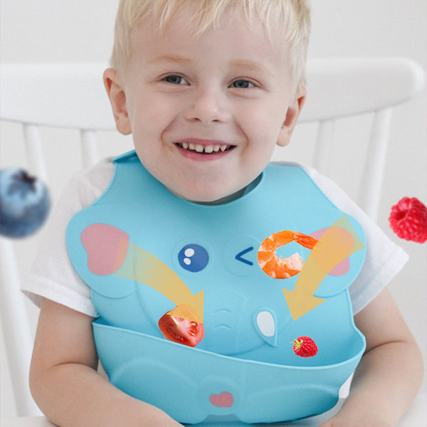 Baby Stuff Waterproof Food Grade Silicone Bib Adjustable Soft Comfortable Drool Bib - honeylives