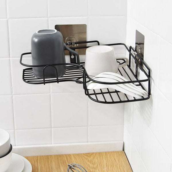 Bathroom Punch Corner Frame Bathroom Installation Iron Storage Shelf Kitchen Tripod Corner - honeylives