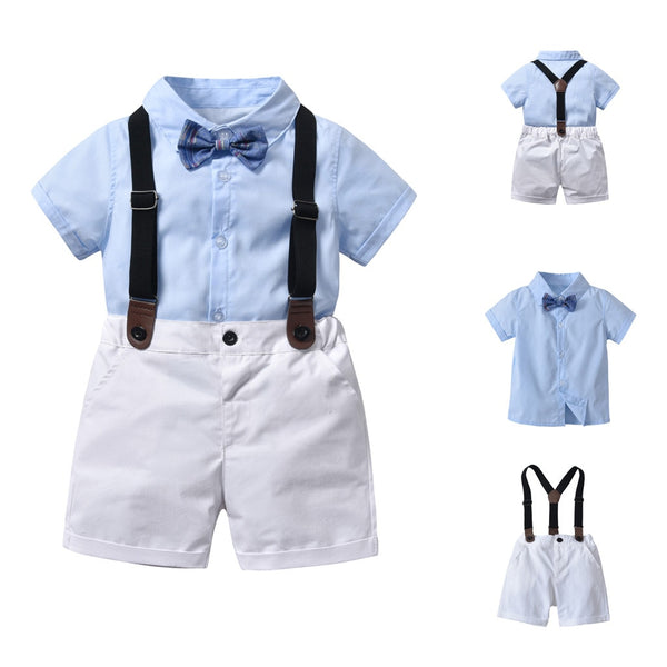 Baby Boys Birthday Formal Suit Gentleman Bowtie Set Short Sleeve Shirt Overall 2 Pcs - honeylives