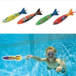 Children Diving Toys Swimming Pool Rocket Throwing Summer Game Pool 1 Set 4 Pcs - honeylives
