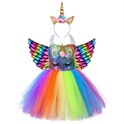 Cute Kids Girl Unicorn Birthday Party  Dress Rainbow Sequin Christmas Dress Baby Clothes - honeylives