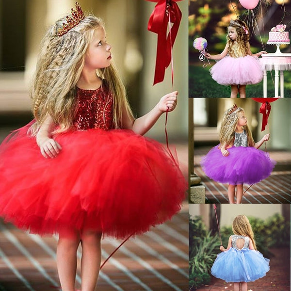 Girl Cute Princess Dress Birthday Party Sequin Formal Fluffy Cake Ball Gown - honeylives
