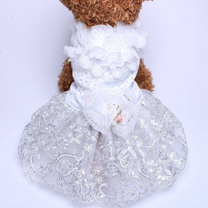 Dog Cat Luxurious Princess Puppy Skirt  Apparel Flowers Design 5 Sizes Available - honeylives