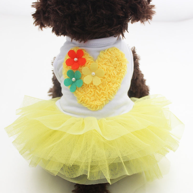 Dog Cat Princess Dress Tutu Heart Flowers  Pet Puppy Apparel 2 Colours - honeylives