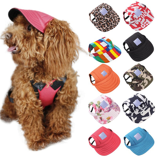 Dog Hat With Ear Holes Summer Canvas Baseball Cap For Small Pet Dog - honeylives